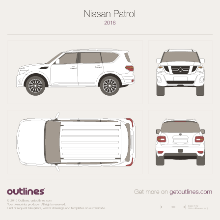 2014 Nissan Patrol SUV blueprints and drawings