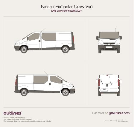 2007 Nissan Primastar Crew Van LWB Low Roof Facelift Van blueprint