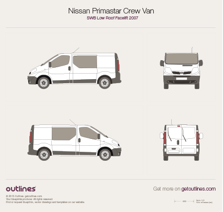 2007 Nissan Primastar Crew Van SWB Low Roof Facelift Van blueprint