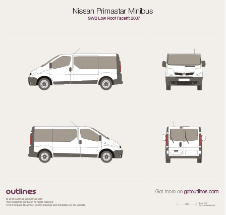 2007 - 2014 Nissan Primastar Minibus SWB Low Roof Facelift Bus drawings