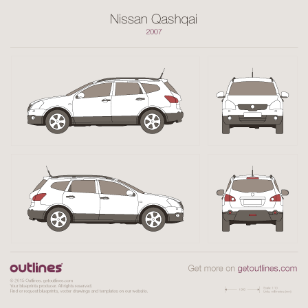 2006 Nissan Qashqai J10 SUV blueprints and drawings