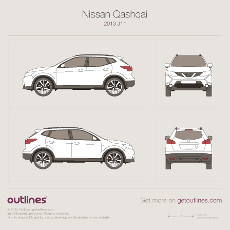 2013 Nissan Qashqai J11 SUV blueprints and drawings