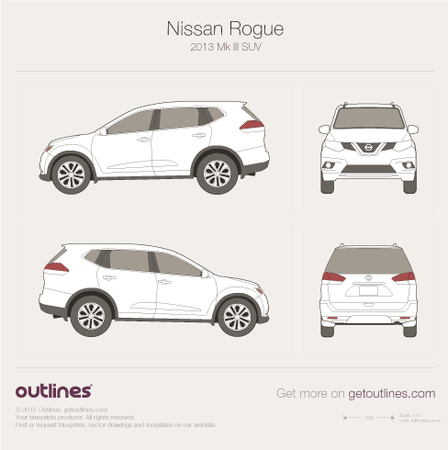 2013 Nissan Rogue SUV blueprints and drawings