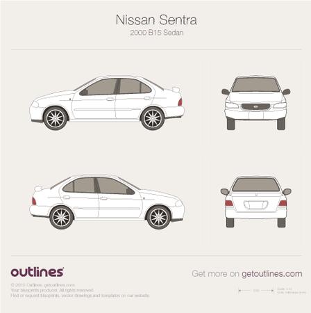 2000 Nissan Sentra B15 Sedan blueprint