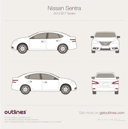 2013 Nissan Sentra B17 Sedan blueprint