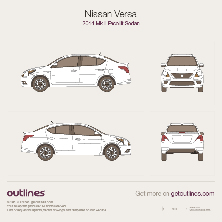 2015 Nissan Versa Mk II Facelift Sedan blueprint