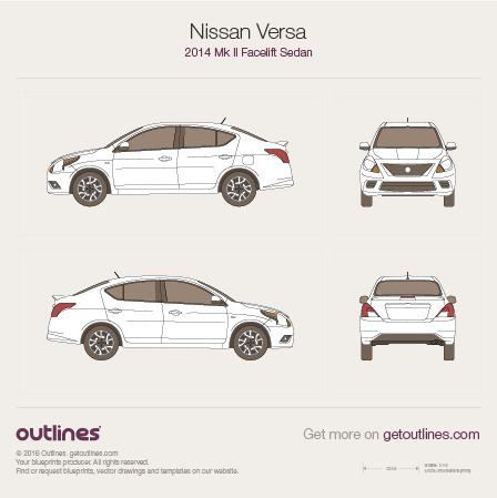 2015 Nissan Versa Mk II Sedan blueprints and drawings