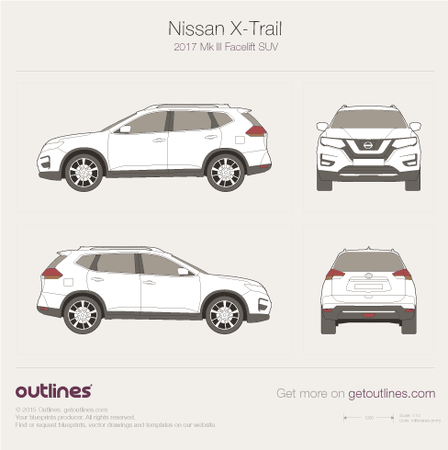 2017 Nissan X-Trail III SUV blueprints and drawings