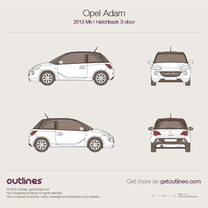 2014 Opel Adam 3-doors Hatchback blueprint