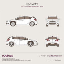2012 Opel Astra J 5-doors Facelift Hatchback blueprint