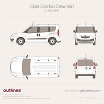 2011 Opel Combo Crew Van D L1 H1 Wagon blueprint