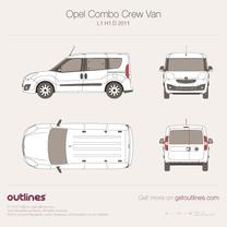 2011 Vauxhall Combo Crew Van D L1 H1 Wagon blueprint
