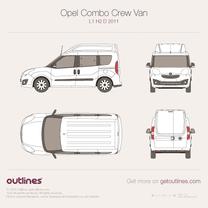 2011 Vauxhall Combo Crew Van D L1 H2 Wagon blueprint
