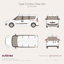 2011 Vauxhall Combo Crew Van D L2 H1 Wagon blueprint