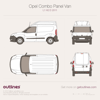 2011 Opel Combo Panel Van D L1 H2 Wagon blueprint