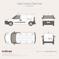 2011 Vauxhall Combo Panel Van D L2 H1 Wagon blueprint