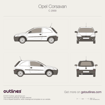 2000 Opel Corsavan Microvan blueprint