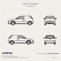 2004 Vauxhall Corsavan Facelift Microvan blueprint