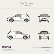 2003 Opel Corsavan Facelift Microvan blueprint