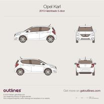 2015 Opel Karl 5-doors Hatchback blueprint
