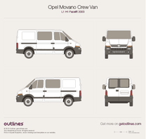 2003 Opel Movano Crew Van L1 H1 Facelift Van blueprint