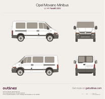 2003 Vauxhall Movano Minibus L1 H1 Facelift Wagon blueprint