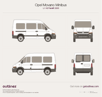 2003 Vauxhall Movano Minibus L1 H2 Facelift Wagon blueprint