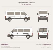 2003 Vauxhall Movano Minibus L2 H2 Facelift Wagon blueprint