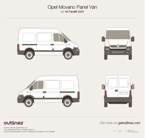 2003 Opel Movano Panel Van L1 H2 Facelift Van blueprint