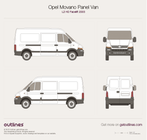 2003 Opel Movano Panel Van L2 H2 Facelift Van blueprint