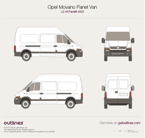 2003 Vauxhall Movano Panel Van L2 H3 Facelift Van blueprint