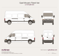 2003 Vauxhall Movano Panel Van L3 H3 Facelift Van blueprint