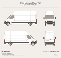2010 Opel Movano Panel Van LWB High Roof FWD Van blueprint