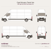 2010 Opel Movano Panel Van LWB High Roof RWD Twin Wheels Van blueprint