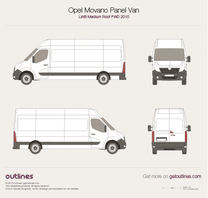 2010 Opel Movano Panel Van LWB Medium Roof FWD Van blueprint