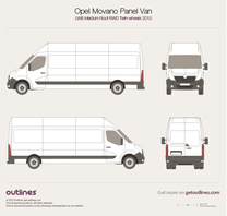 2010 Opel Movano Panel Van LWB Medium Roof RWD Twin Wheels Van blueprint