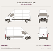 2010 Opel Movano Panel Van MWB High Roof FWD Van blueprint
