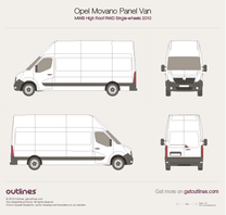 2010 Opel Movano Panel Van MWB High Roof RWD Van blueprint