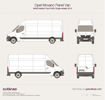 2010 Opel Movano Panel Van MWB Medium Roof RWD Van blueprint