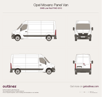 2010 Opel Movano Panel Van SWB Low Roof FWD Van blueprint