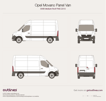 2010 Opel Movano Panel Van SWB Medium Roof FWD Van blueprint