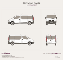 2007 Opel Vivaro Combi L1 H1 Facelift Wagon blueprint