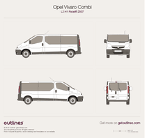 2007 Opel Vivaro Combi L2 H1 Facelift Wagon blueprint