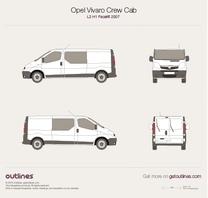 2007 Opel Vivaro Crew Cab L2 H1 Facelift Wagon blueprint