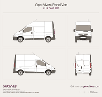 2007 Opel Vivaro Panel Van L1 H2 Facelift Wagon blueprint