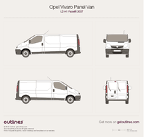 2007 Opel Vivaro Panel Van L2 H1 Facelift Wagon blueprint