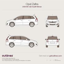 2008 Opel Zafira B Facelift Minivan blueprint