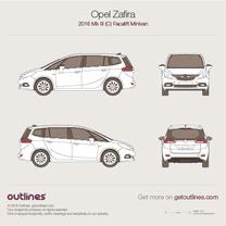 2016 Opel Zafira C Tourer Facelift Minivan blueprint