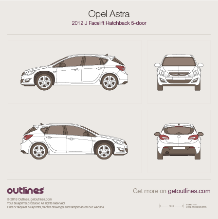 2012 Opel Astra J Hatchback blueprints and drawings