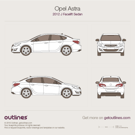 2012 Opel Astra J Facelift Sedan blueprint